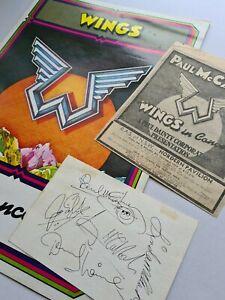 Wings Program printed signed ticket advert Denny Laine Paul McCartney Linda