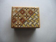 Japanese Yosegi puzzle box secret trick hiding spot Natural Wood inlay no nails