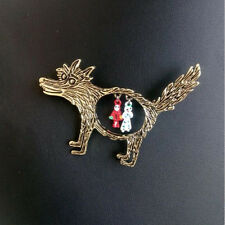 Retro Cartoon Bronze Wolf And Red Riding Hood Animal Brooch Pin Unisex Jewelry