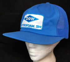 Vtg Dow Styrofoam SM Mesh Trucker Hat Snapback Patch K Brand Cap Insulation Blue