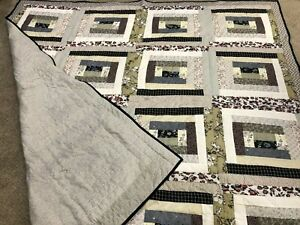 """Homemade Courthouse Steps Farmhouse Full Sized Quilt - 78"""" x 82"""" - Hand Stitched"""