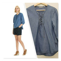 [ COUNTRY ROAD ] Womens Blue Denim Lace Up Shirt Top | Size S or AU 10 / US 6