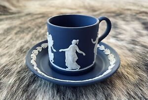 Wedgwood Portland blue Jasperware Demitasse Coffee Cup Saucer Dancing Hours