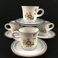 Set of 4 VTG Cups and Saucers Noritake Eastwind Mustard Rust Floral 8349 Japan