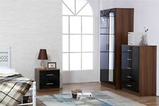 REFLECT High Gloss Black / Walnut 3 Piece Bedroom Furniture Mirror Soft Close