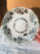 Fiesta Glass Silver Wedding Anniversary Frosted Back Glass Plate/Dish