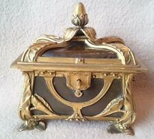 ANTIQUE FRENCH ART NOUVEAU BRONZE ORMOLU LEATHER JEWELLERY BOX CASKET KEY SIGNED