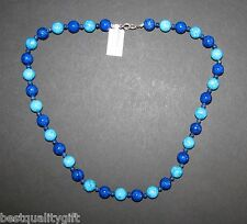 NEW TURQUOISE,ROYAL BLUE GENUINE STONES+STAINLESS STEEL NECKLACE-925