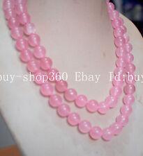 Long 8mm pink jade natural stone jasper GEMSTONE round bead necklace36''