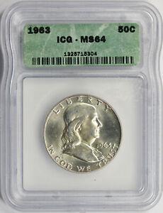 1963 50c Franklin Half Dollar ICG MS64