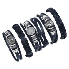6pcs Black Punk Men Womens Braided Leather Bracelet Skull Wristband Cuff Bangle