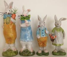 NEW Family of 4 Glitter Easter Bunnies~Ceramic~Colorful~ LAST SET OF 4