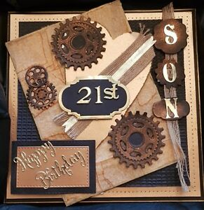 """Personalised Male 21st Birthday Card, Large Luxury """"8x8"""" Embellished and Box."""