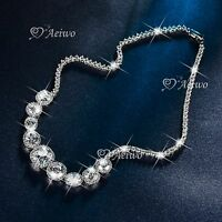 18K WHITE GOLD FILLED SIMULATED DIAMOND WEDDING PARTY NECKLACE LUXURY