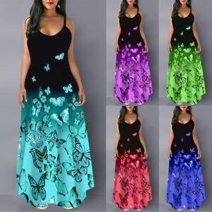 Womens Butterfly Sleeveless Maxi Dress Ladies Casual Summer Floral Dresses UK