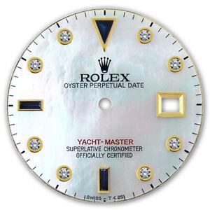 YACHT-MASTER 2T WHITE MOP SAPPHIRE DIAMOND DIAL FOR ROLEX / READ DESCRIPTION