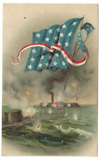 4th July Holiday Embossed Boats Ships Patriotic Postcard Night Fireworks