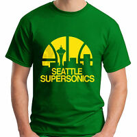 New SEATTLE SUPERSONICS Basketball Club Men's Green T-Shirt Size S-5XL