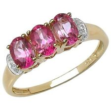 GOLD PLATED STERLING SILVER PINK TOPAZ 3 STONE RING SIZE LNOPQ ANNIVERSARY GIFT