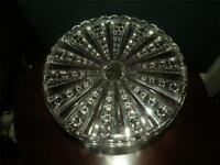"""ANTIQUE EAPG PATTERN GLASS CAKE STAND 10.50"""" D 10"""" SEATTING"""