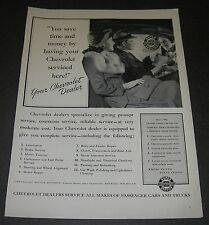 Print Ad 1941 CHEVROLET Dealer You Save time & Money List of services