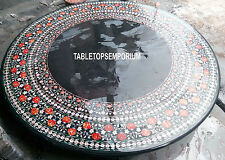 36'' Black Marble Top Dining Table Carnelian Inlay Furniture Mosaic Home Decor