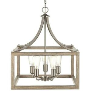 NEW!!  HOME DECORATORS Boswell Quarter 20 in. 5-Light Brushed Nickel Chandelier
