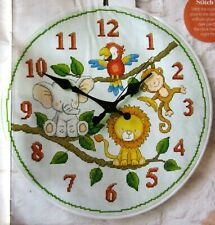 It's Time for Jungle Fun For Baby Clock Cross Stitch Pattern - Monkey Parrot
