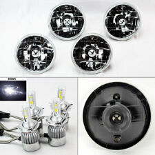 "FOUR 5.75"" 5 3/4 Round Clear Glass Headlight Conversion w/ 6K 36W LED H4 Bulbs"