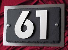 3D Hausnummer Edelstahl Schiefer in Bauhaus Design V2A Hausnummernschild Zahlen