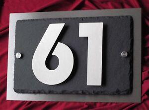 3D Hausnummer Edelstahl Schiefer Anthrazit  V2A Hausnummernschild Zahlen