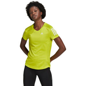 adidas Womens Own The Run T Shirt Tee Top Yellow Sports Running Breathable