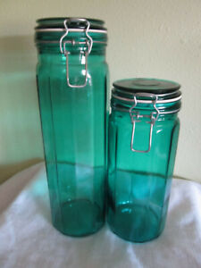 """Spaghetti wire bale glass canister locking lids teal grean 10"""" & 13"""""""