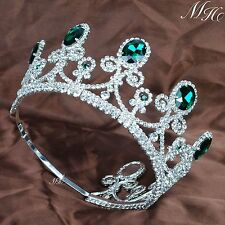 Emerald Tiaras Green Crystal Crowns Wedding Pageant Prom Party Diamante Pieces