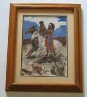 FINEST JAMES COLT ORIGINAL PAINTING SIGNED WESTERN COWBOYS DESERT INDIANS HORSES