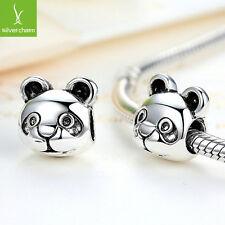 2016 Cute Panda Pattern Animal Silver Charms Beads Fit European DIY Snake Chain