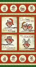 Fabric Red Owl Be Home for Christmas Panel w/Metallic