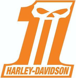 """Harley Davidson #1 scull, vinyl, decal, sticker, 10"""" x 8.5"""""""