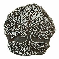 Decorative Tree Pattern Wooden Stamp Indian Brown Peacock Stamps Printing Block