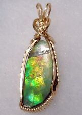 Lovely ~  CANADIAN AMMOLITE PENDANT ~ HandCrafted USA ~ 14kt GF