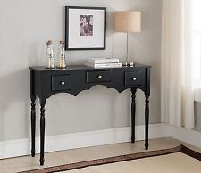 Kings Brand Entryway Sofa Console Table with Drawers, Black Finish Wood ~New~