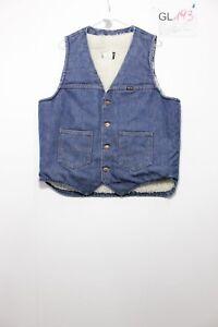 Wrangler Gilet Sherpa (Cod. GL193)Tg.L jeans USATO Smanicato Vintage raro
