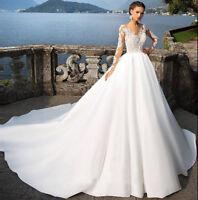 Princess Wedding Dresses Long Sleeve Bridal Ball Gown Applique Lace Satin Plus