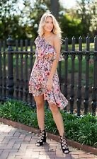 NWT MINKPINK XS ruffled dress one-shoulder off-shoulder wattle wonder designer