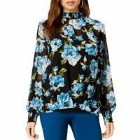 ALFANI NEW Women's Black Multi Printed Smocked 2 In 1 Blouse Shirt Top XXL TEDO