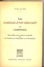 LES PAROLES D UN CROYANT DE LAMENNAIS. YVES LE HIR