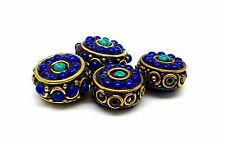 nepalese lapiz turquoise brass 4 beads 16x9mm 20gram  antique collection quality