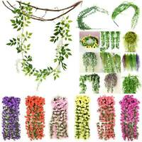 Artificial Fake Hanging Flower Leaf Vine Garland Plant Home Wall In/Outdoor US