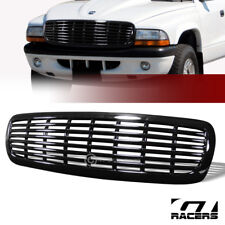 For 1997-2004 Dakota/Durango Gloss Black Horizontal Billet Front Bumper Grille