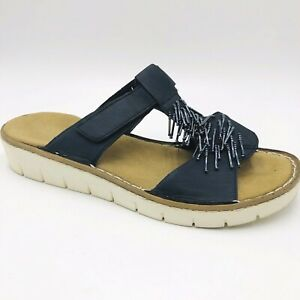 Rieker Sz 38 Black Leather Bejewelled Leather Lined Slip On Sandals